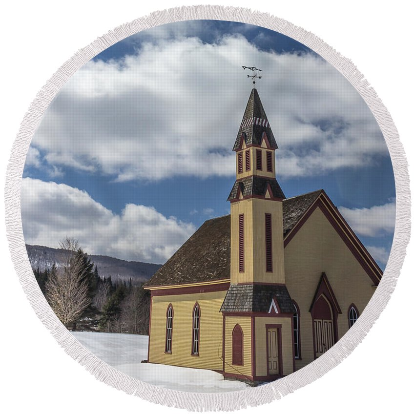 Church Round Beach Towel featuring the photograph Stannard Church by Tim Kirchoff