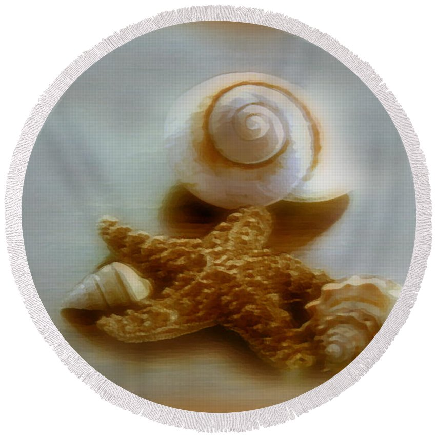 Beach Art Round Beach Towel featuring the photograph Star And Shells by Linda Sannuti