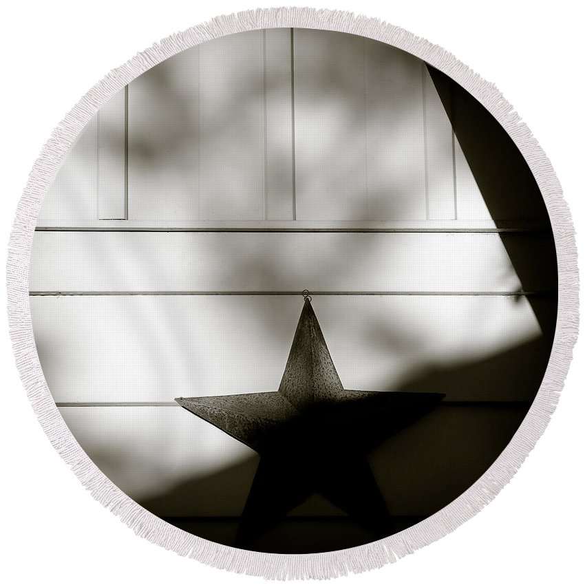 Star Round Beach Towel featuring the photograph Star And Stripes by Dave Bowman