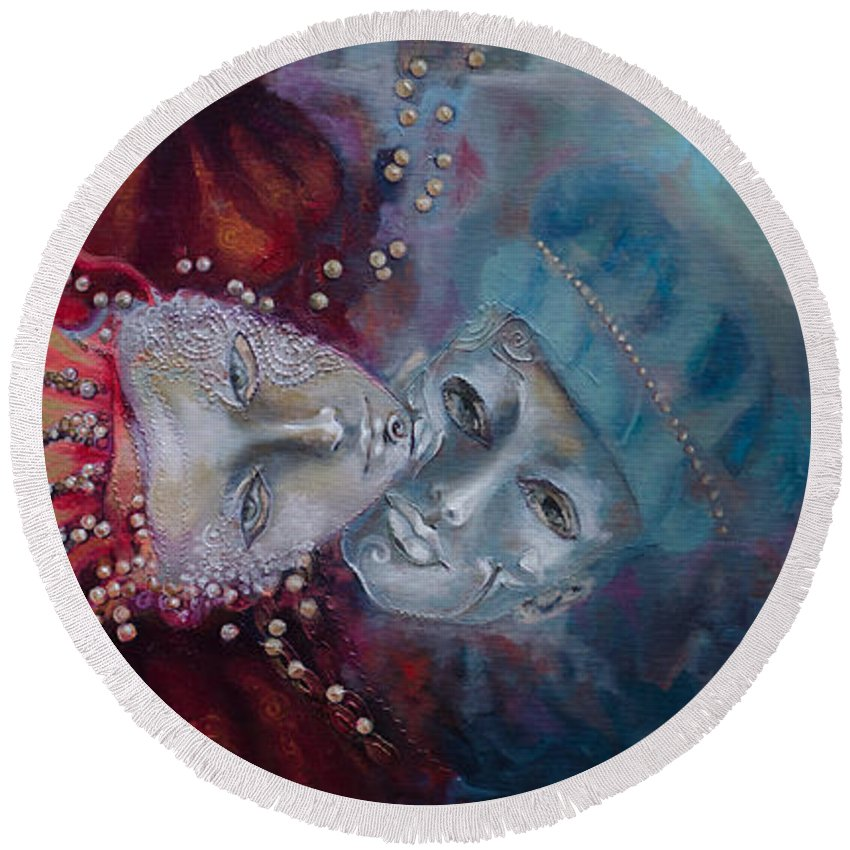 Live Round Beach Towel featuring the painting Star-crossed Lovers by Dorina Costras