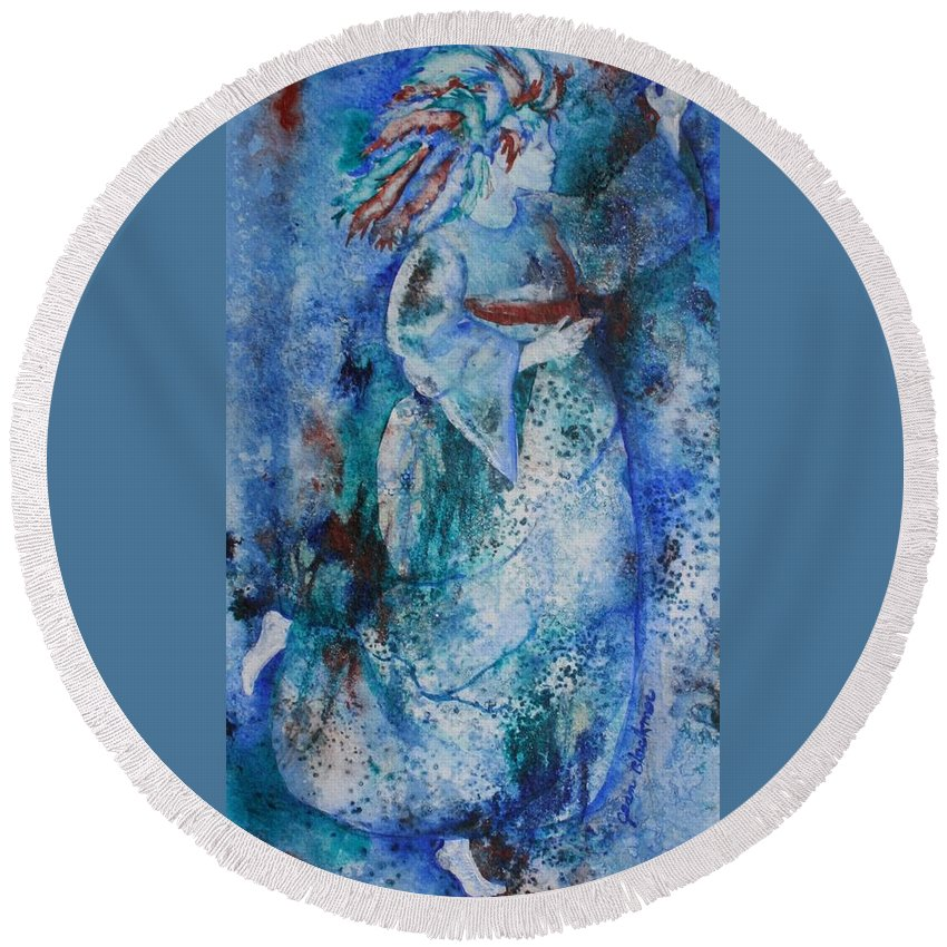 Abstract Round Beach Towel featuring the painting Star Dancer by Jean Blackmer