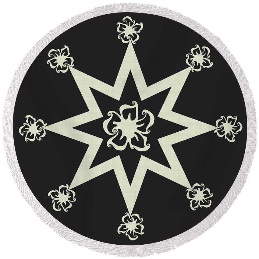 Pattern Design Round Beach Towel featuring the digital art Star Flower - Ebony And Ivory by Raven Steel Design