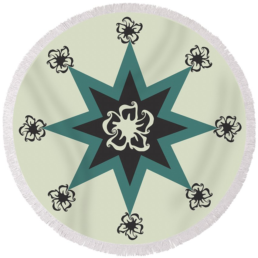 Pattern Design Round Beach Towel featuring the digital art Star Flower - The Light Side by Raven Steel Design