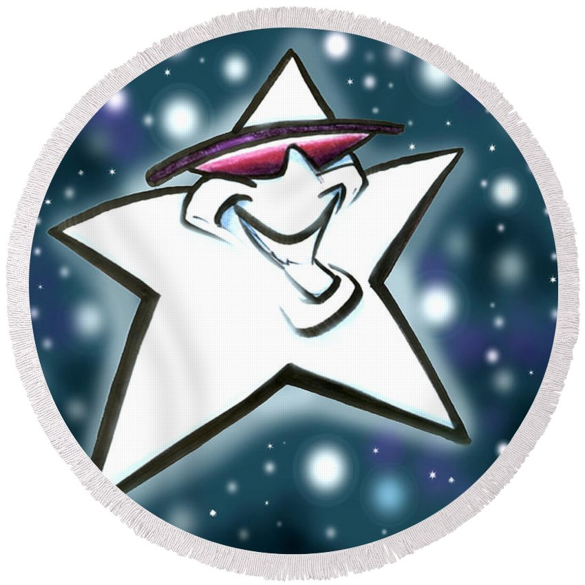 Star Round Beach Towel featuring the digital art Star by Kevin Middleton