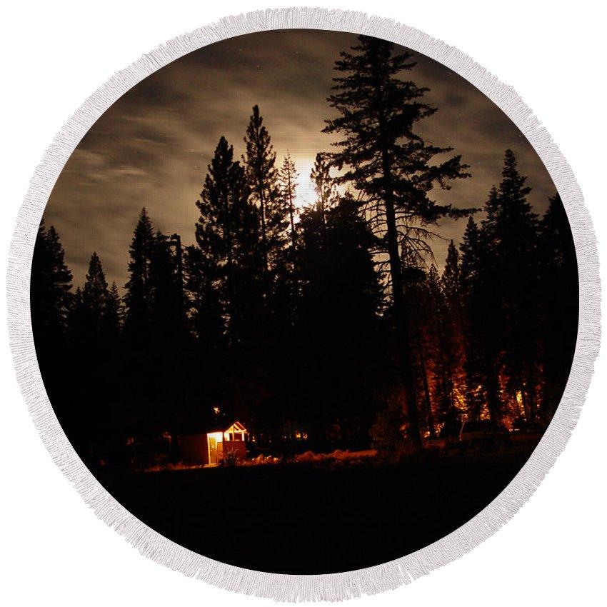 Moonlight Round Beach Towel featuring the photograph Star Lit Camp by Peter Piatt