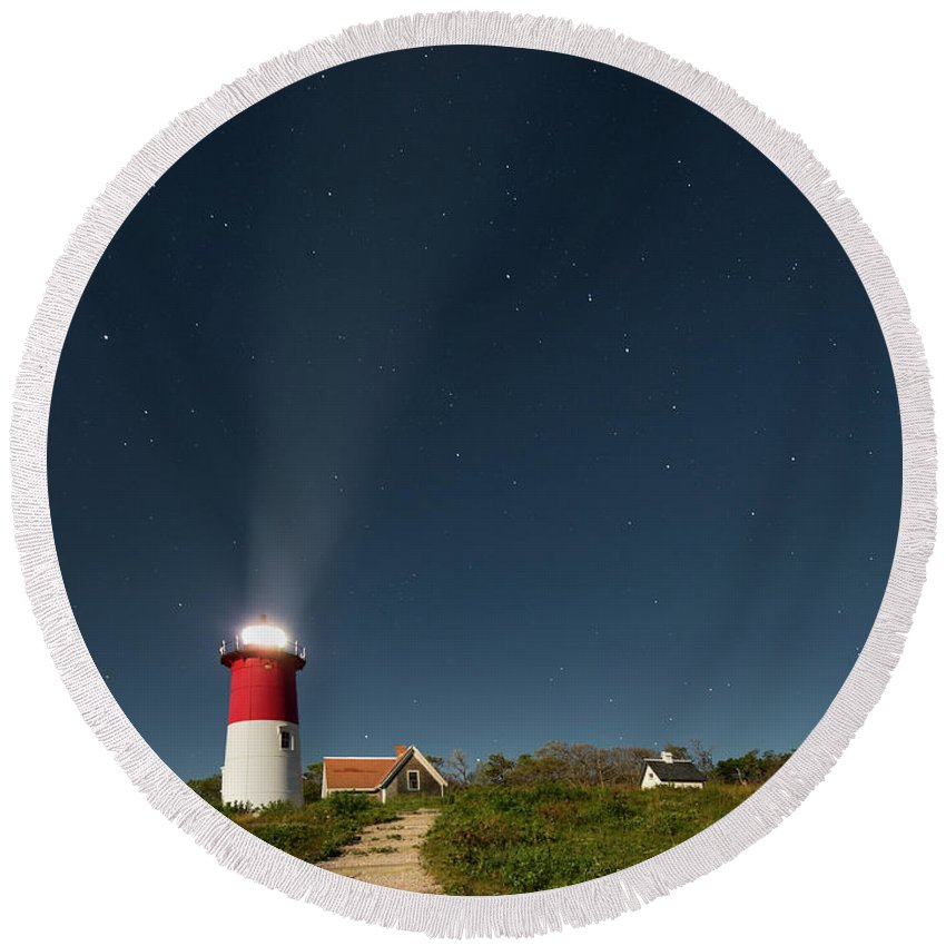 Nauset Beach Light Round Beach Towel featuring the photograph Star Search by Bill Wakeley