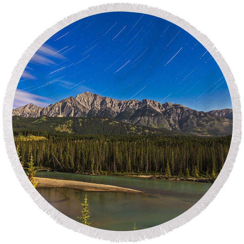 Alberta Round Beach Towel featuring the photograph Star Trails Above The Front Ranges by Alan Dyer