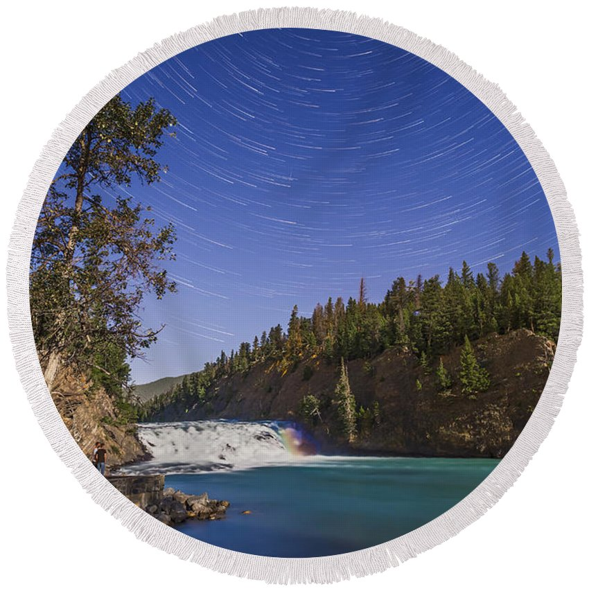 Alberta Round Beach Towel featuring the photograph Star Trails And Moonbow Over Bow Falls by Alan Dyer