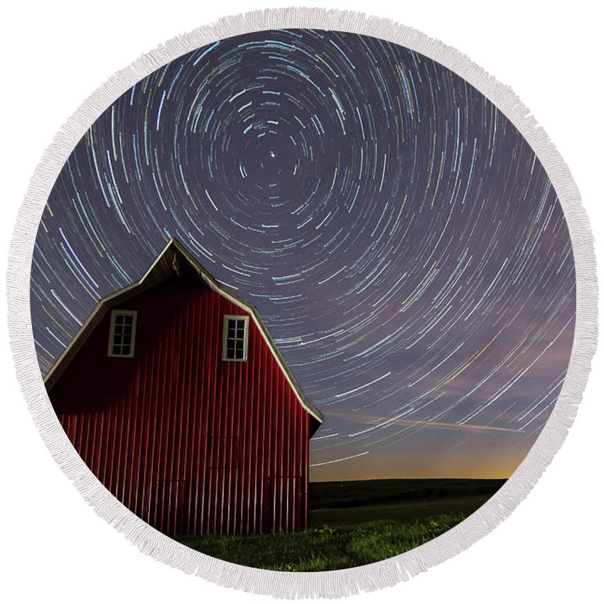 Atchison Round Beach Towel featuring the photograph Star Trails At The Red Barn by Mark McDaniel