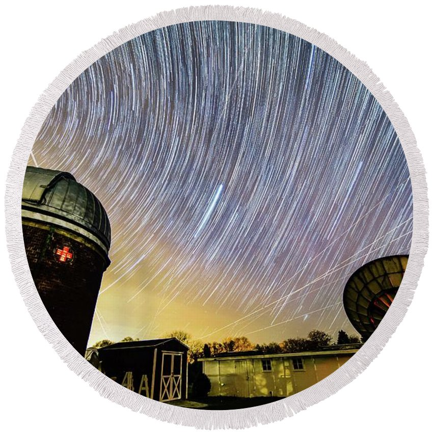Space Round Beach Towel featuring the photograph Star Trails Over Custer Observatory by Justin Starr