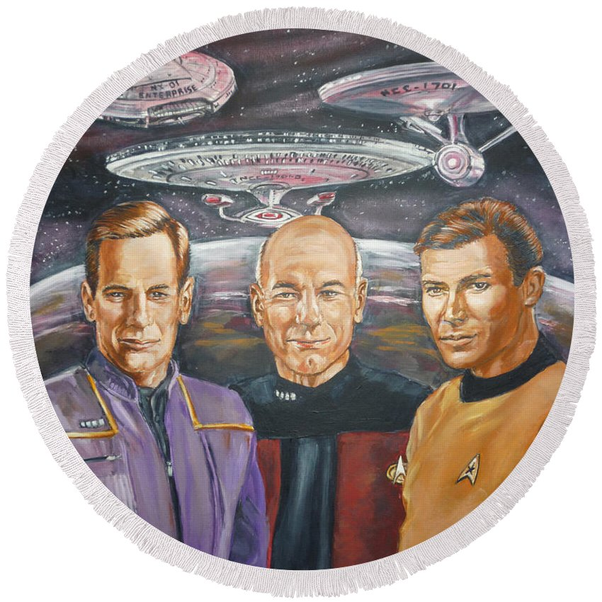 Star Trek Round Beach Towel featuring the painting Star Trek Tribute Enterprise Captains by Bryan Bustard