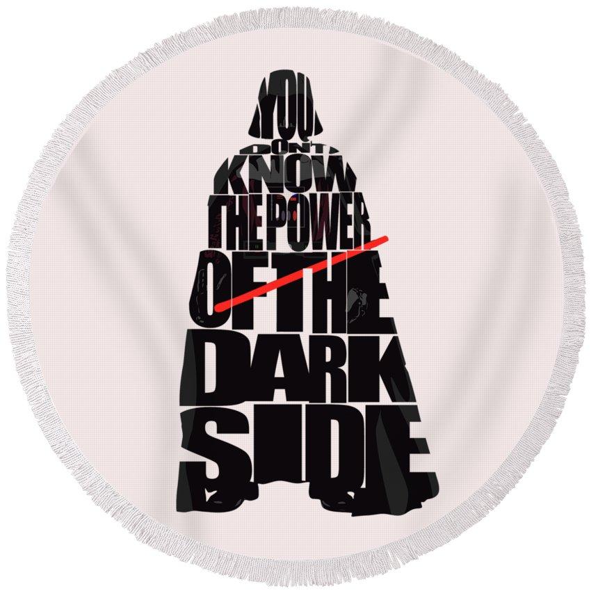 Darth Vader Round Beach Towel featuring the digital art Star Wars Inspired Darth Vader Artwork by Inspirowl Design