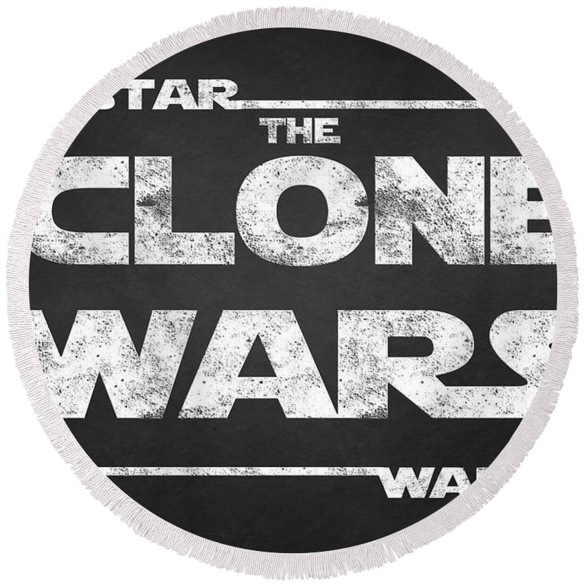 Star Wars Script Design Round Beach Towel featuring the painting Star Wars The Clone Wars Chalkboard Typography by Georgeta Blanaru