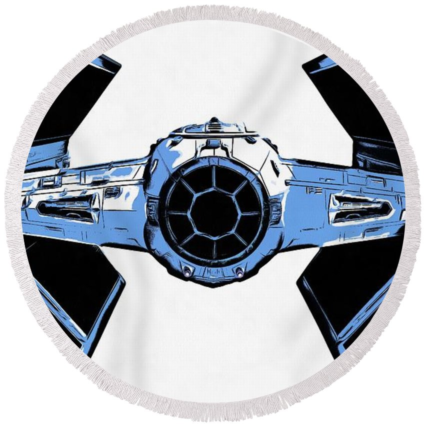 Graphic Round Beach Towel featuring the photograph Star Wars Tie Fighter Advanced X1 by Edward Fielding