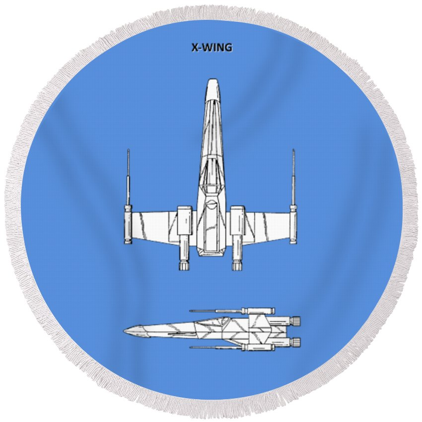 X-wing Round Beach Towel featuring the photograph Star Wars X-wing Fighter by Mark Rogan