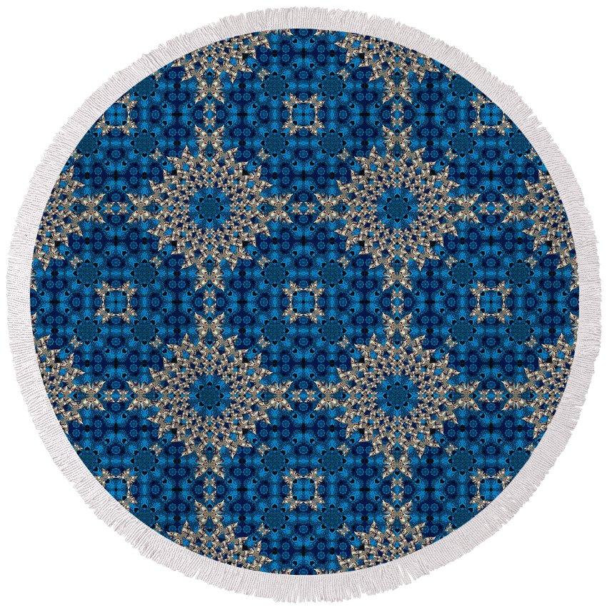Butterfly Round Beach Towel featuring the digital art Stardrop Diamond Blue by Deborah Runham