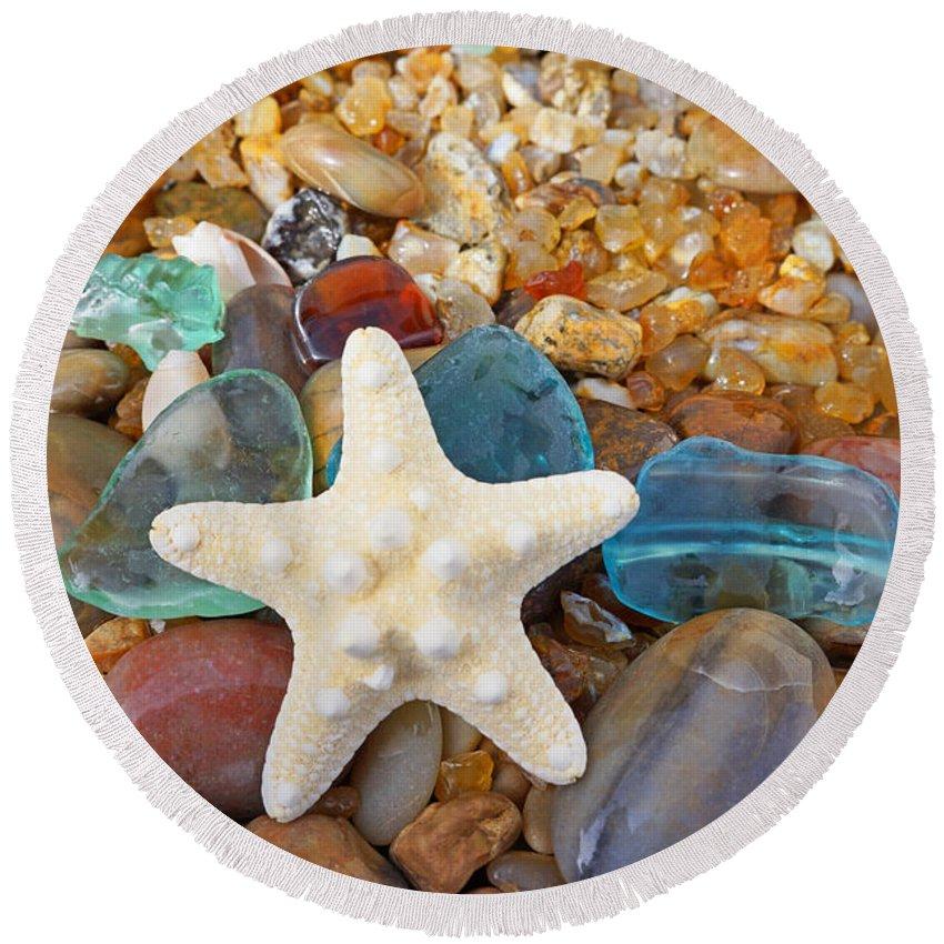 Starfish Round Beach Towel featuring the photograph Starfish Art Prints Star Fish Seaglass Sea Glass by Patti Baslee