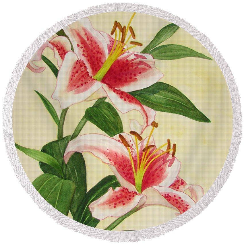 Hao Aiken Round Beach Towel featuring the painting Stargazer Lilies - Watercolor by Hao Aiken