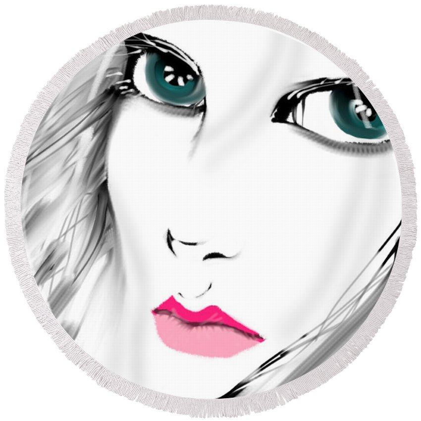 Face Round Beach Towel featuring the digital art Staring by Frances Ku