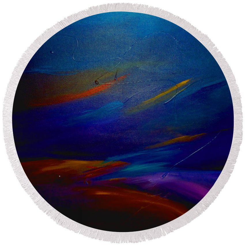 Sunset Round Beach Towel featuring the painting Starlight @ Night by Jean Habeck