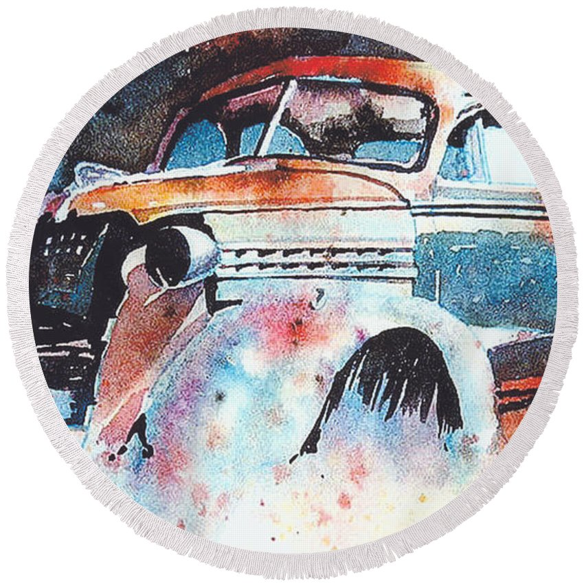 Chev Round Beach Towel featuring the painting StarlightChevy by Ron Morrison