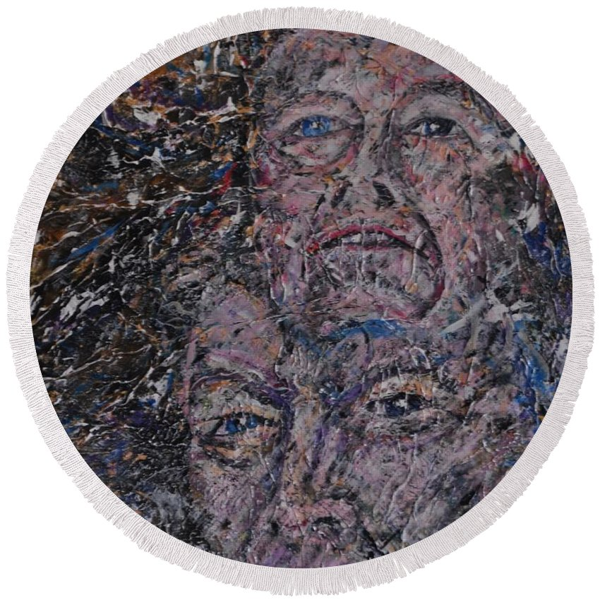 Painting Round Beach Towel featuring the painting starr man David Bowie by Gordon Roy