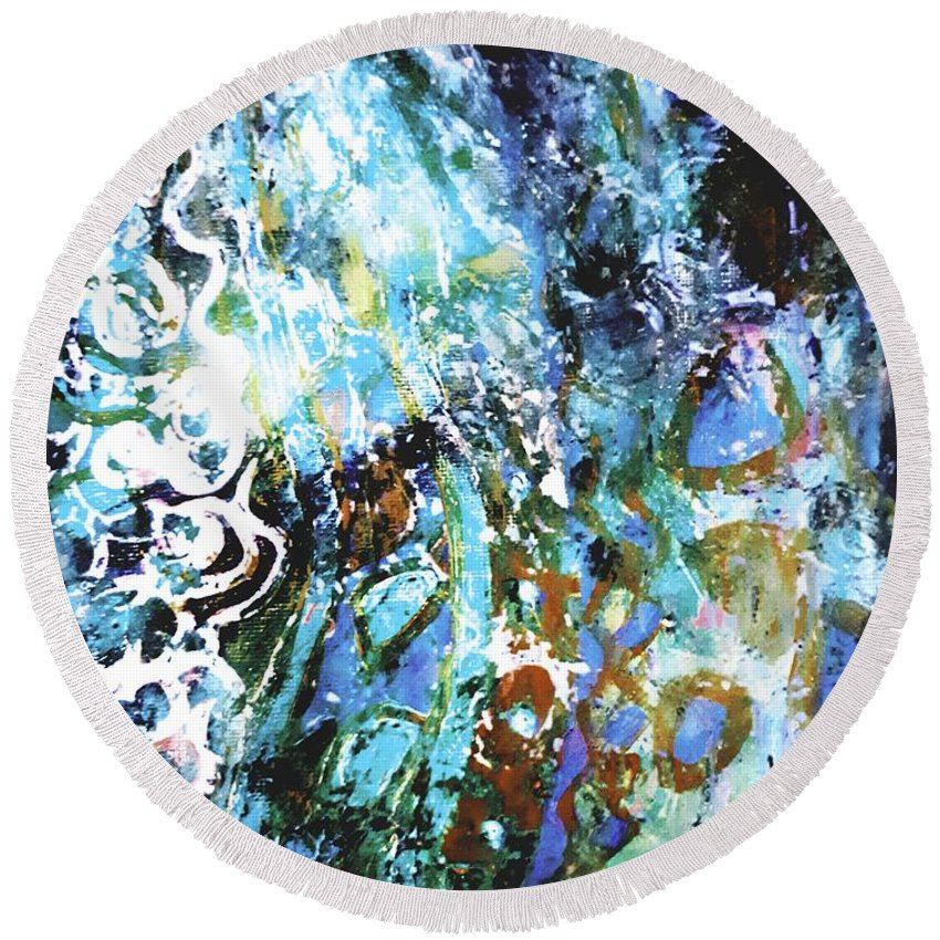 Abstract Round Beach Towel featuring the painting Starry Contribution 1 by Nikki Dalton