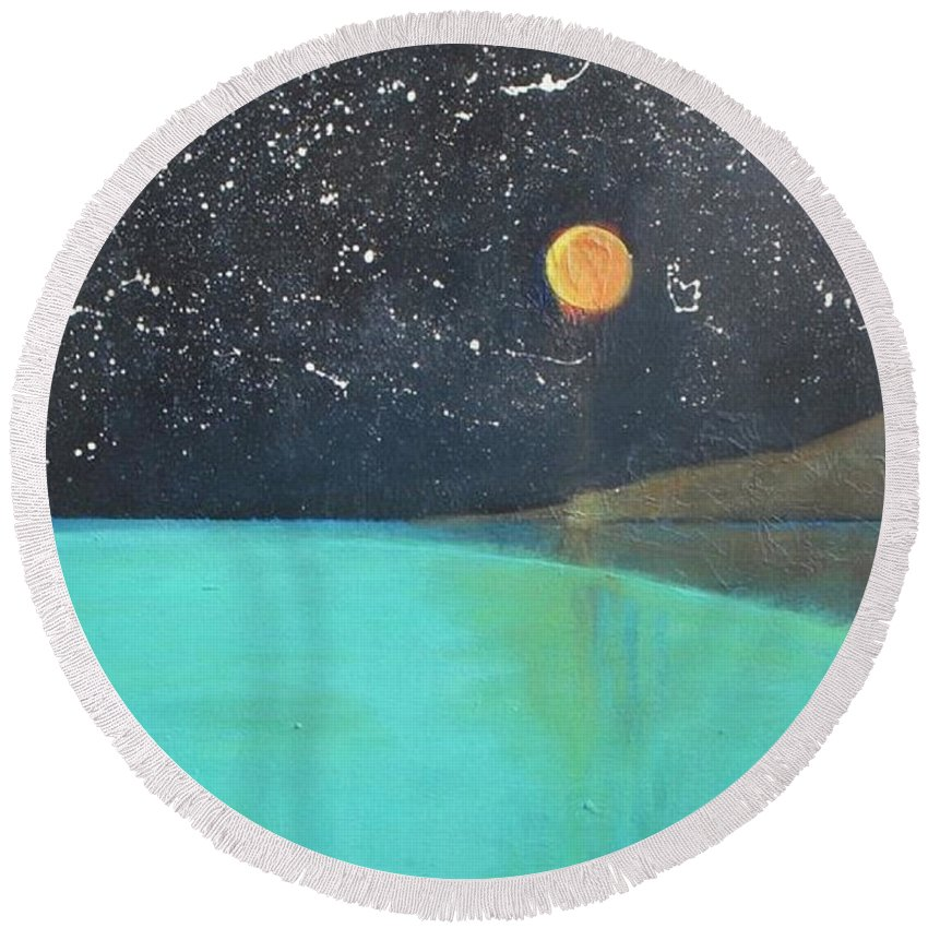 Starry Sky Round Beach Towel featuring the painting Starry Sky Above The Ocean by Vesna Antic