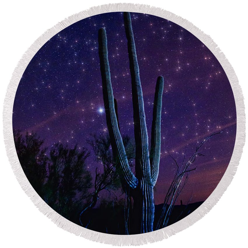 Night Skies Round Beach Towel featuring the photograph Starry Starry Sonoran Skies by Saija Lehtonen