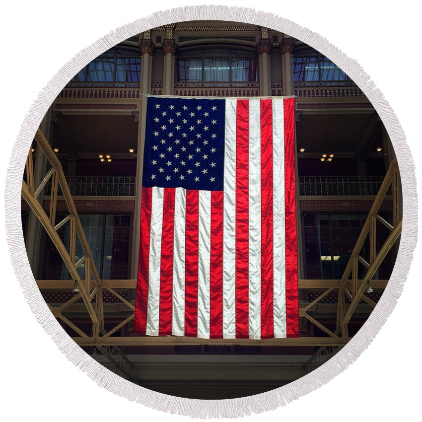 Federal Courthouse Round Beach Towel featuring the photograph Stars And Stripes by Debbie Nobile