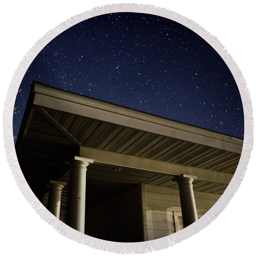 Michigan Round Beach Towel featuring the photograph Stars Over The Pavilion by LuAnn Griffin