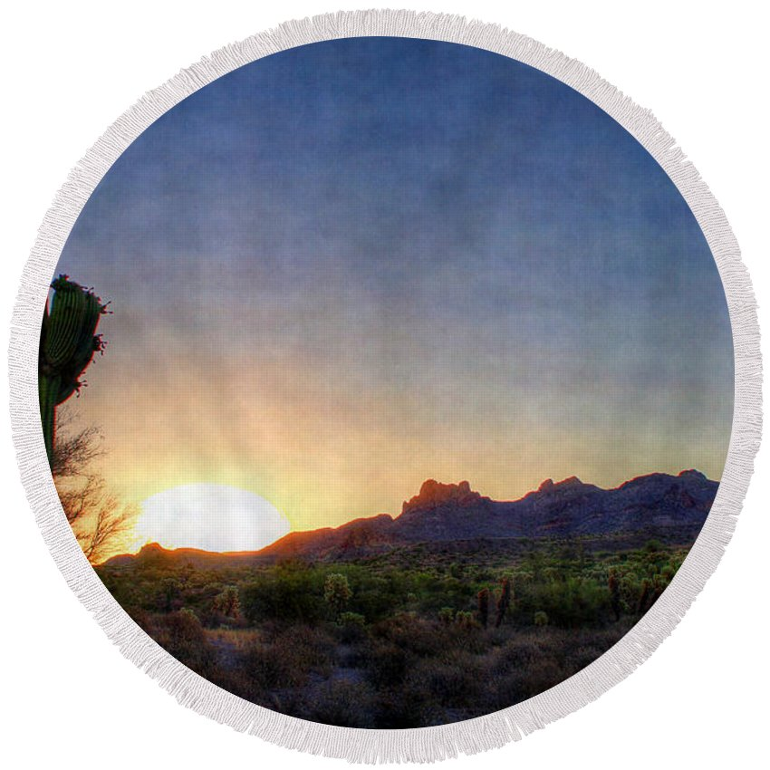 Saguaro Round Beach Towel featuring the digital art Start Of A New Day by Dan Stone