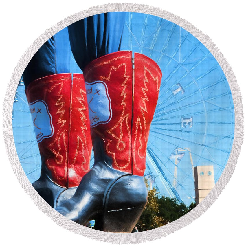 Big Tex Round Beach Towel featuring the photograph State Fair Of Texas Icons by David and Carol Kelly