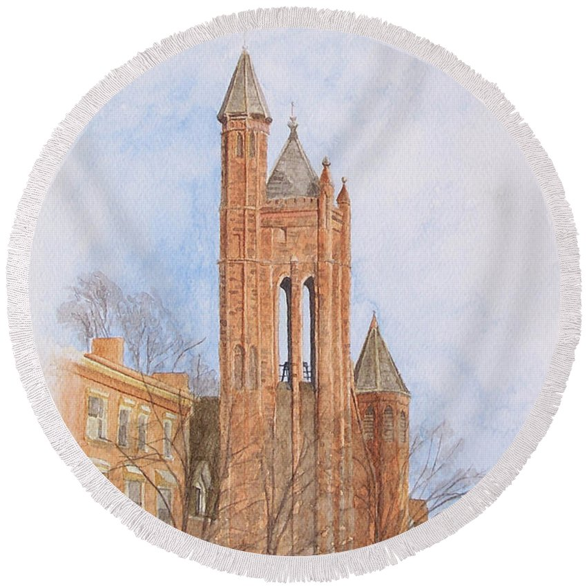 Gothic Round Beach Towel featuring the painting State Street Church by Dominic White