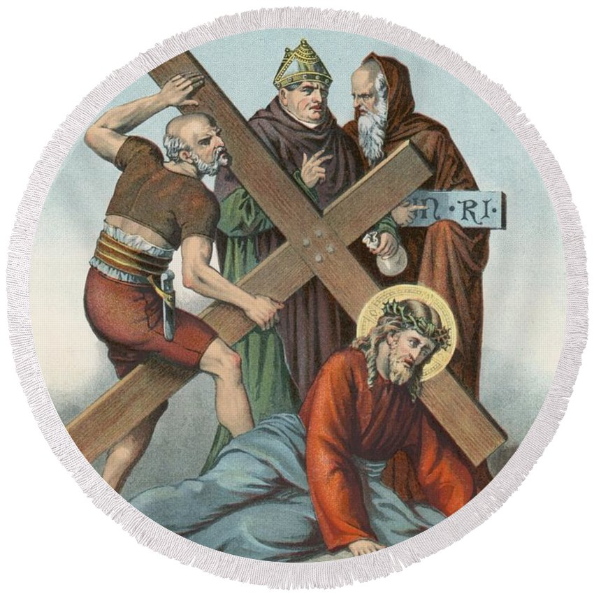 Catholic; Bible; Religion; Truth; Station Ix; Jesus Falls; Cross; Time Round Beach Towel featuring the painting Station Ix Jesus Falls Under The Cross The Third Time by English School
