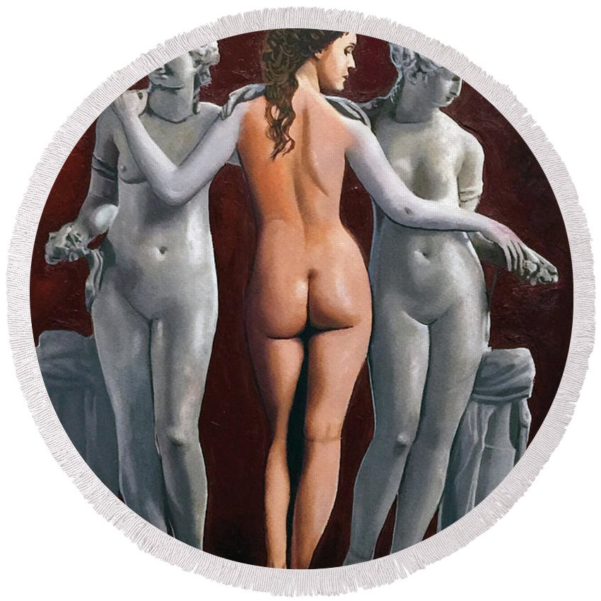 Statue Woman Painting Cuban Round Beach Towel featuring the painting Statue by Jose Manuel Abraham