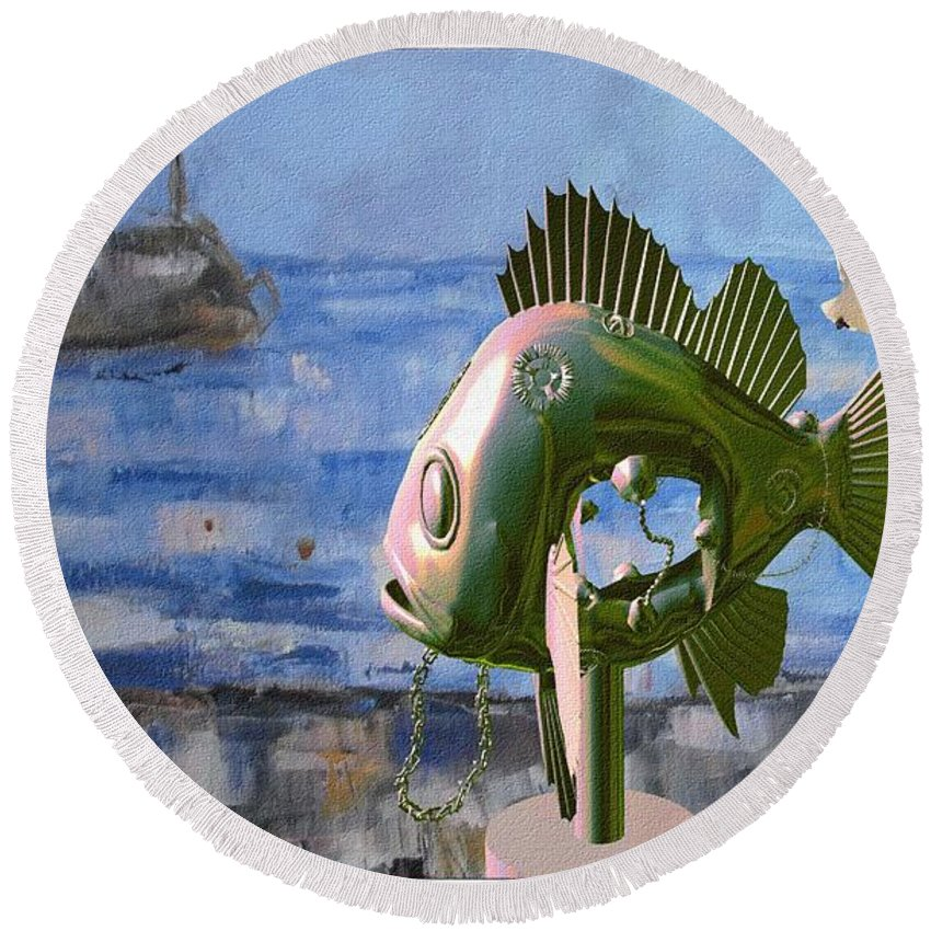 Modern Painting Round Beach Towel featuring the mixed media Statue Of Fish 113 by Pemaro