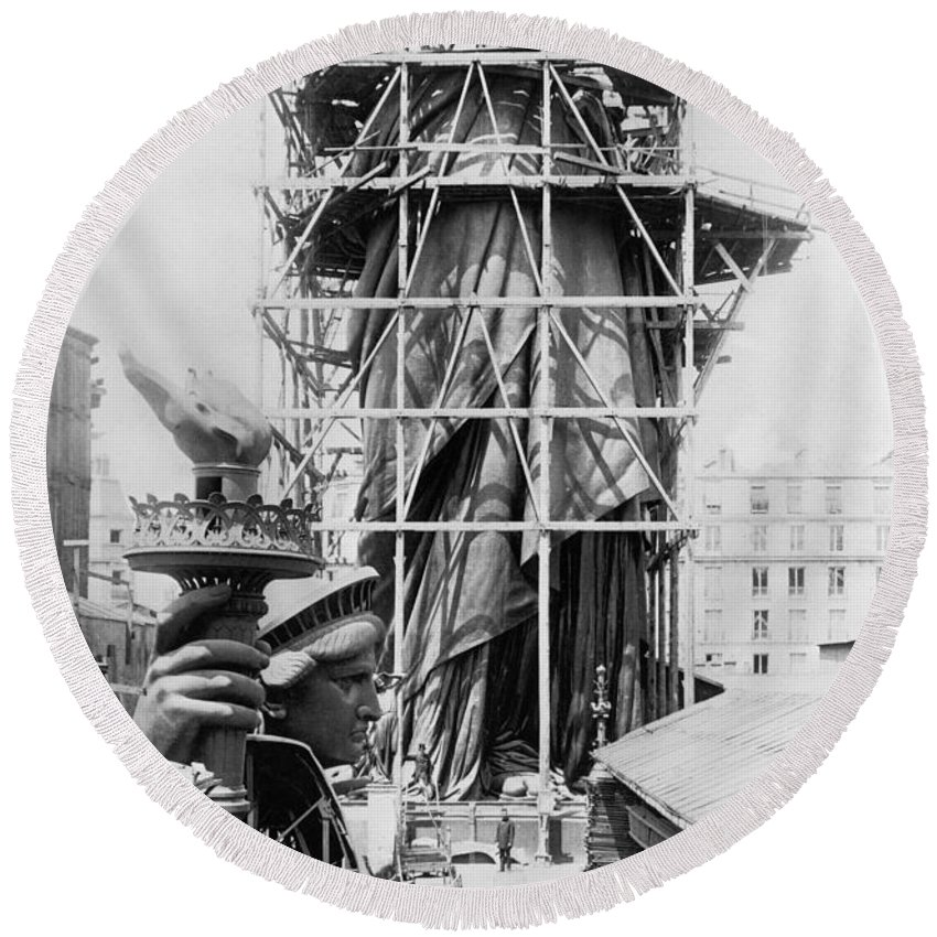 1883 Round Beach Towel featuring the photograph Statue Of Liberty, C1883 by Granger
