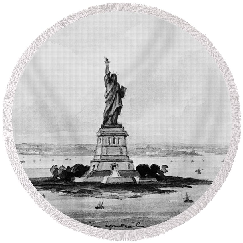 1886 Round Beach Towel featuring the photograph Statue Of Liberty, C1886 by Granger
