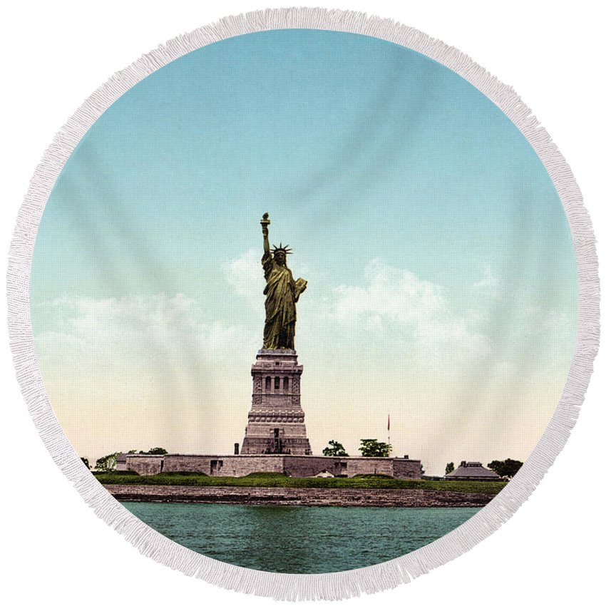 1905 Round Beach Towel featuring the photograph Statue Of Liberty, C1905 by Granger