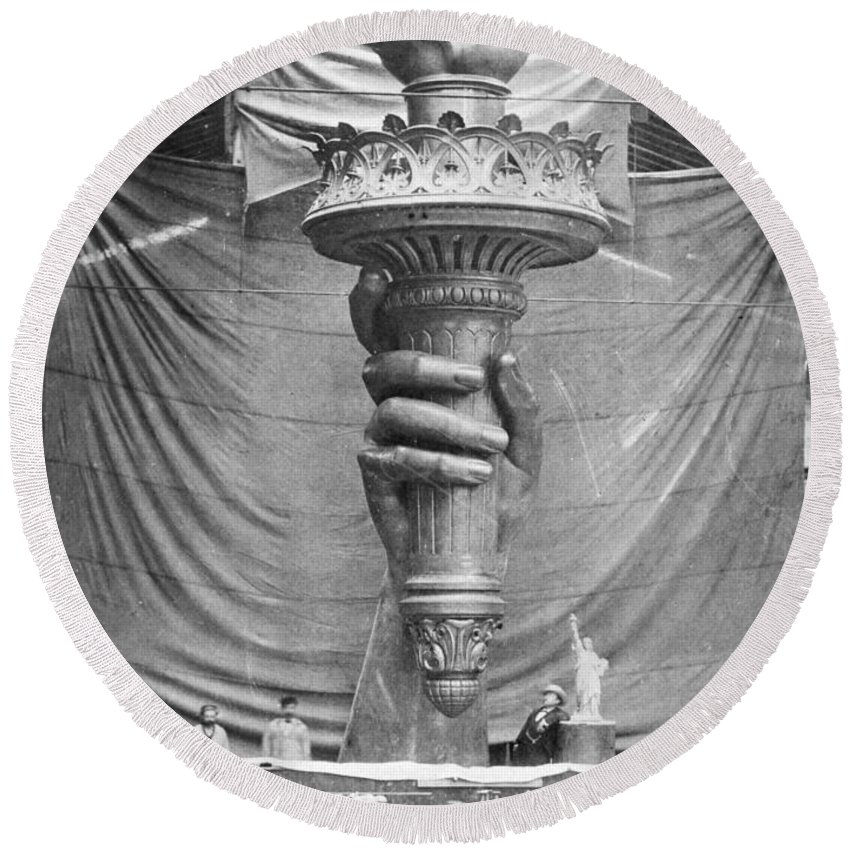 1883 Round Beach Towel featuring the photograph Statue Of Liberty, Paris by Granger