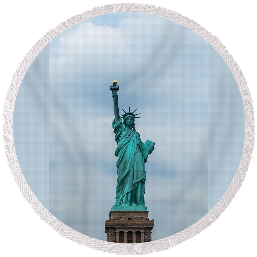 Terry D Photography Round Beach Towel featuring the photograph Statue Of Liberty by Terry DeLuco