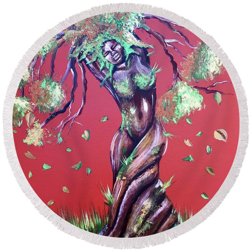 Tree Round Beach Towel featuring the painting Stay Rooted- Stay Grounded by Artist RiA