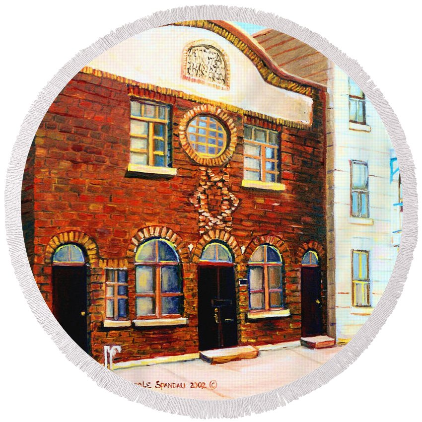 St. Dominique Street Synagogue Round Beach Towel featuring the painting St.dominique Street Synagogue by Carole Spandau