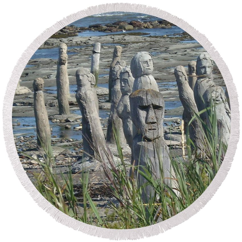 Landscape Round Beach Towel featuring the photograph Ste Flavie by Line Gagne