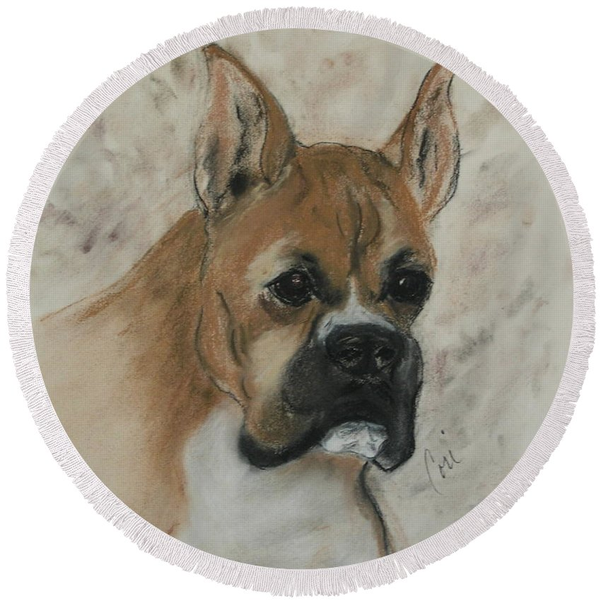Dog Round Beach Towel featuring the drawing Steady Goes It by Cori Solomon