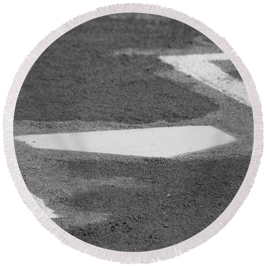 Home Plate Round Beach Towel featuring the photograph Stealing Home by Laddie Halupa
