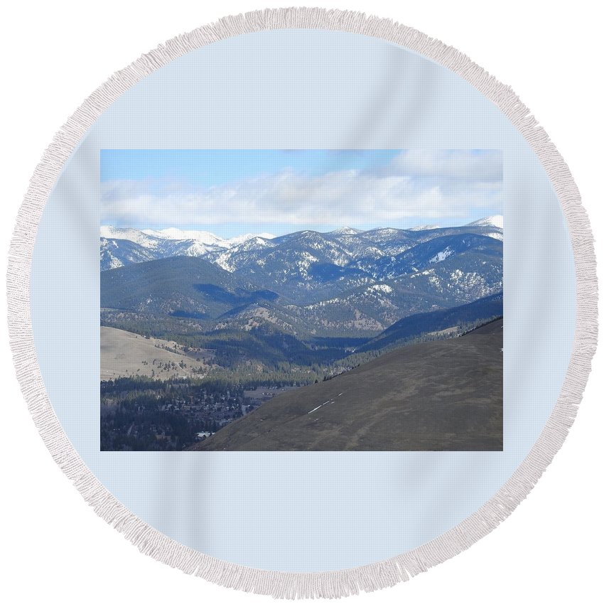 Round Beach Towel featuring the photograph Stealth Shadows by Dan Hassett