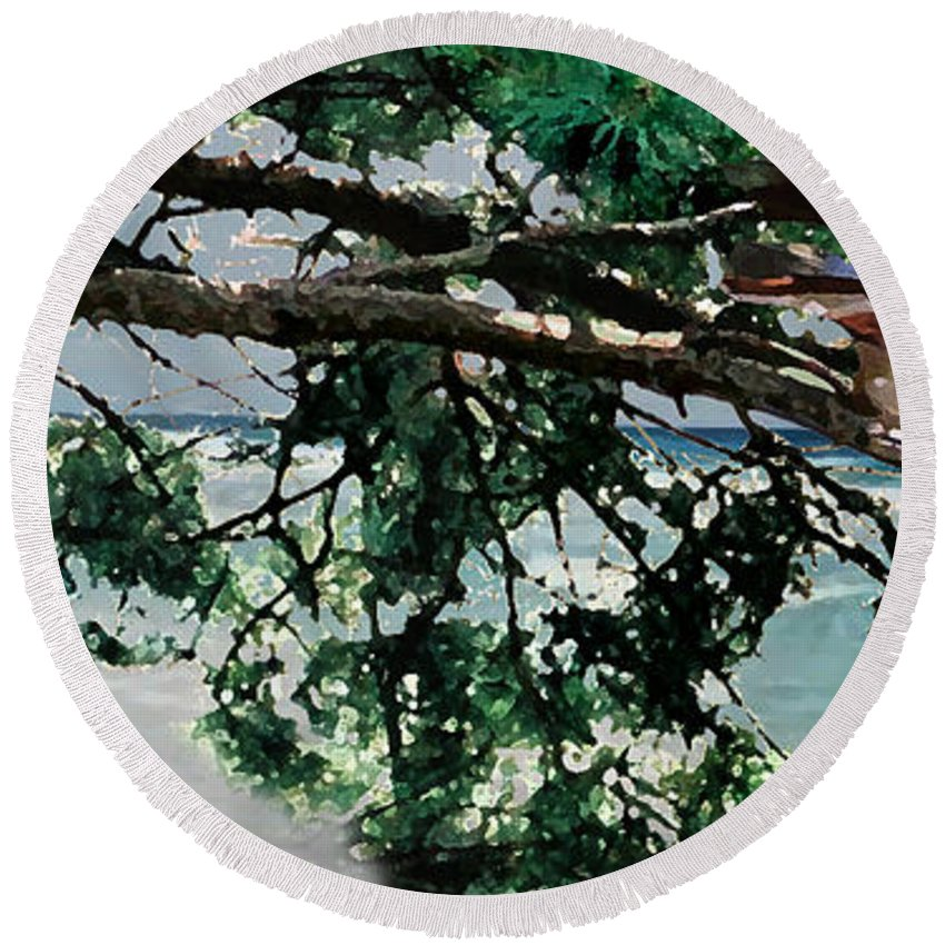 Landscape Round Beach Towel featuring the painting Stealth by Steve Karol