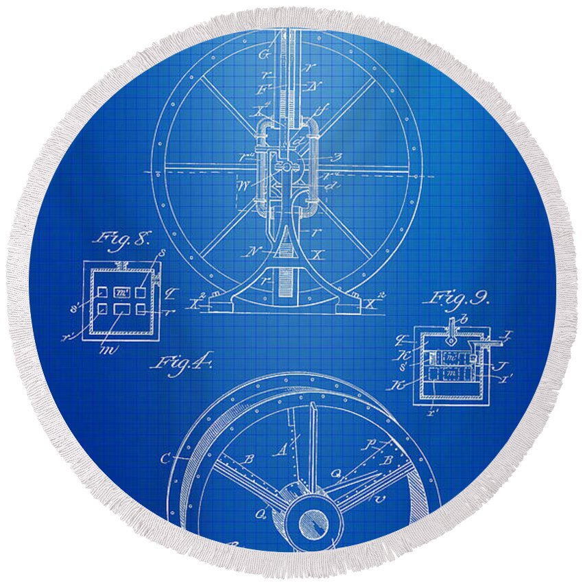 Steam Engine Round Beach Towel featuring the photograph Steam Engine Blueprint by Brooke Roby